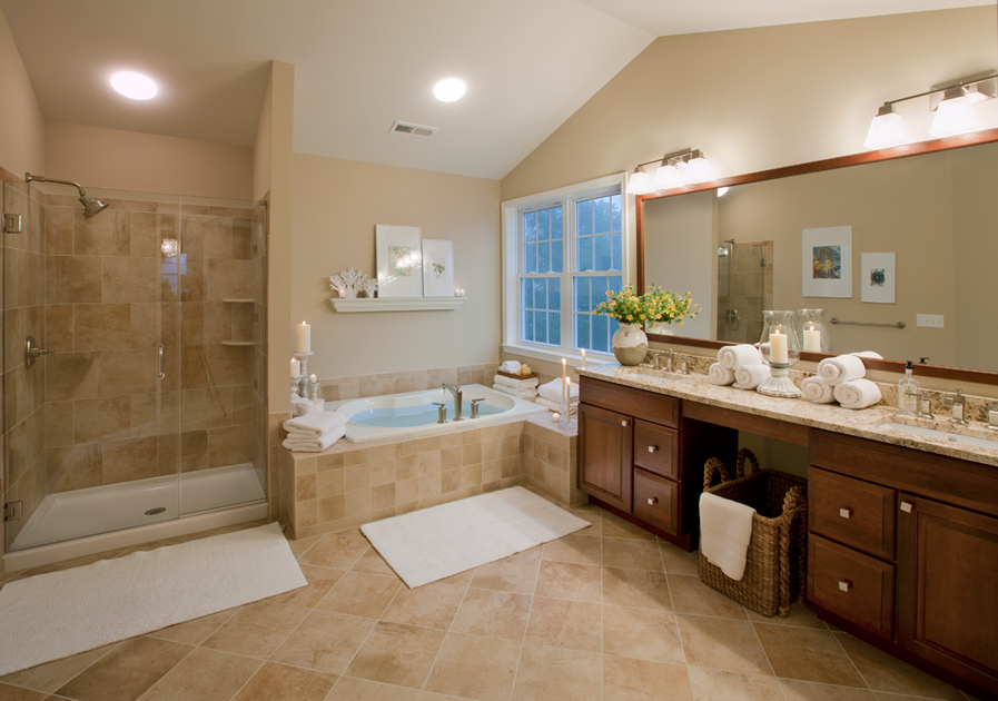 Bright Wall Lamps Decorating Master Bathroom Ideas With Solid Oak Vanity And White Bathtub