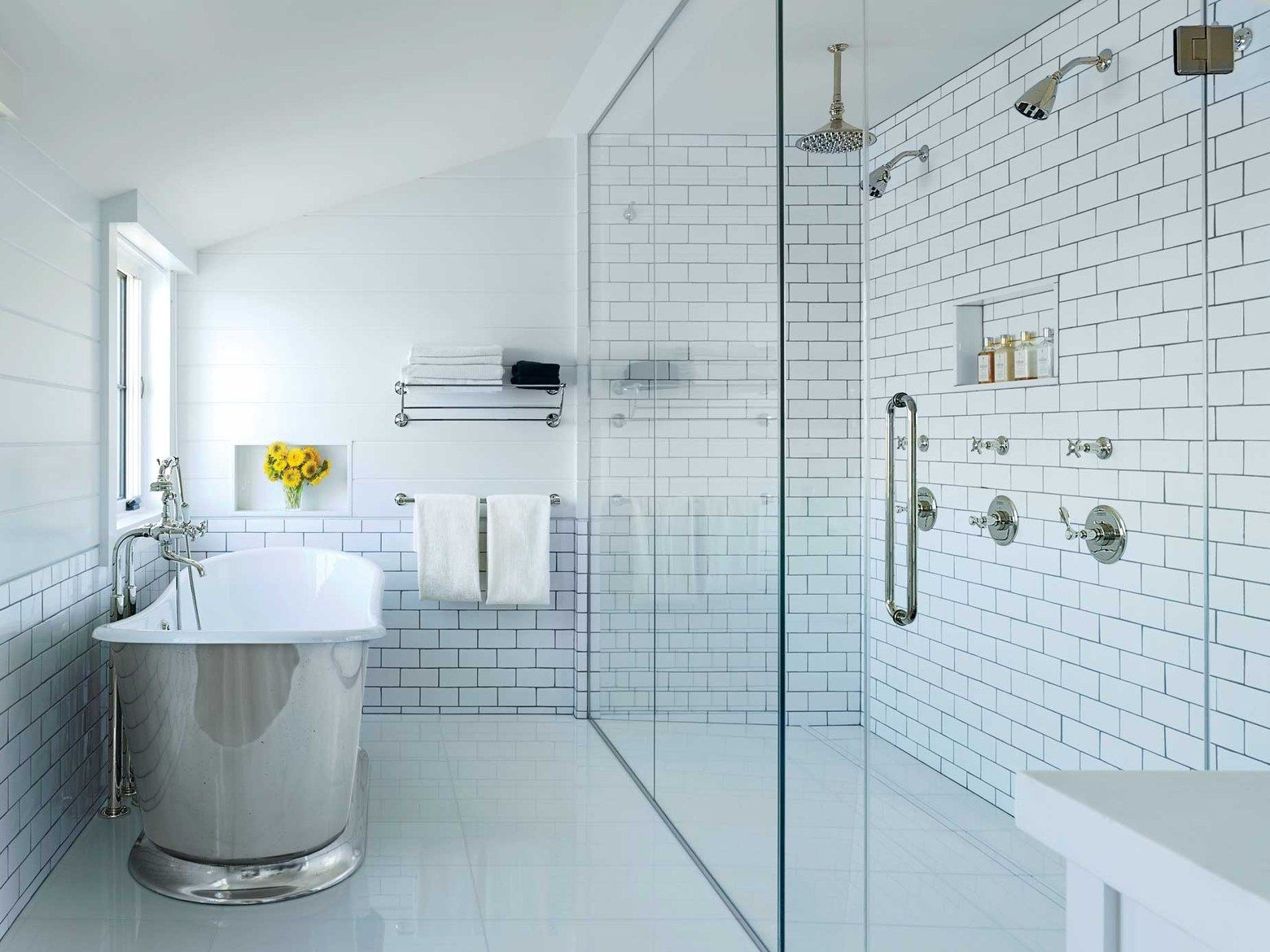 Brilliant Bathroom Space Saver Design with Glossy Bathtub and Glass Shower Room on Tile Flooring