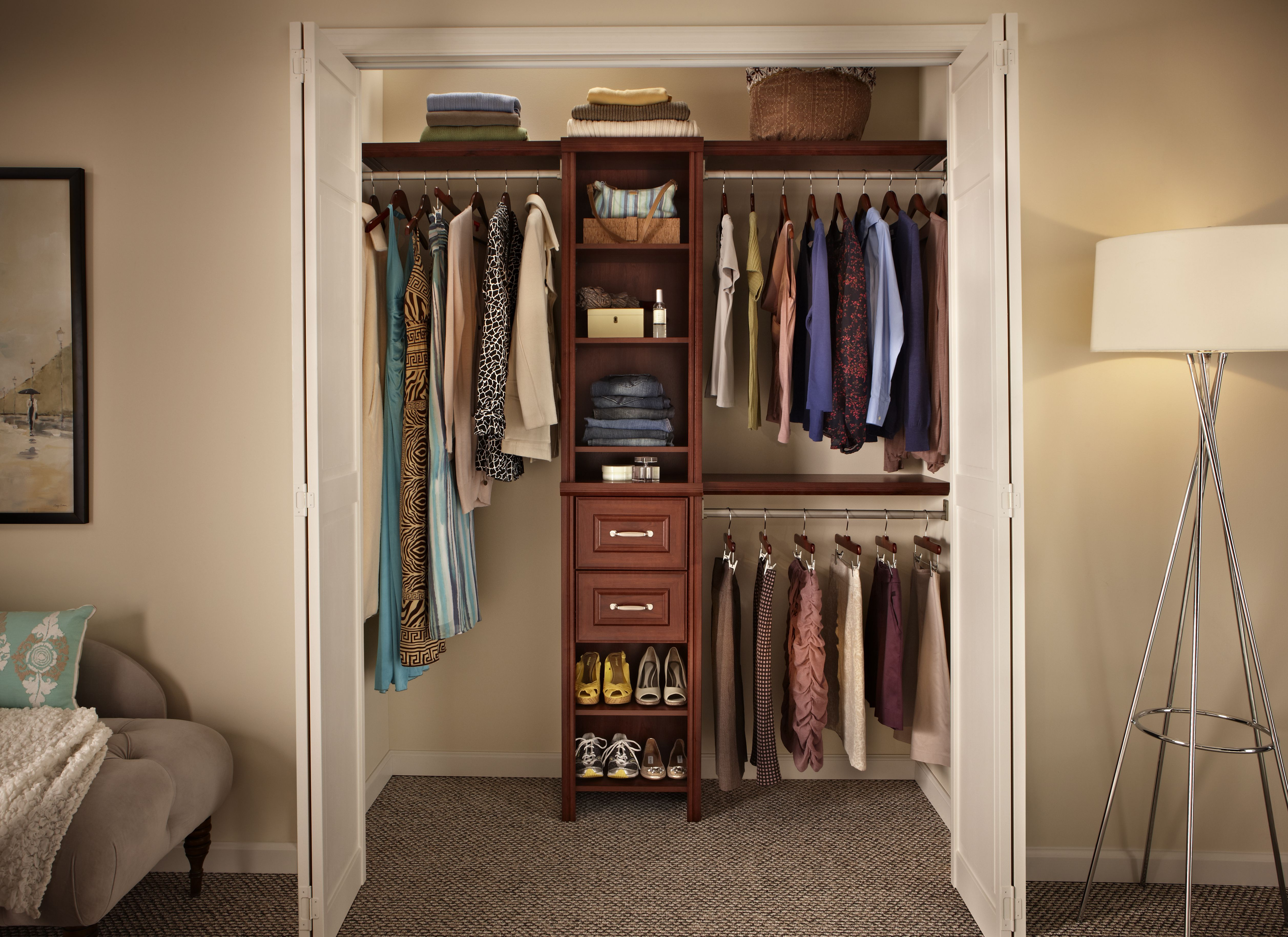 Brilliant Closet Organizer Ideas with Small Shoes Shelves and Drawers between Glossy Clothes Hangers