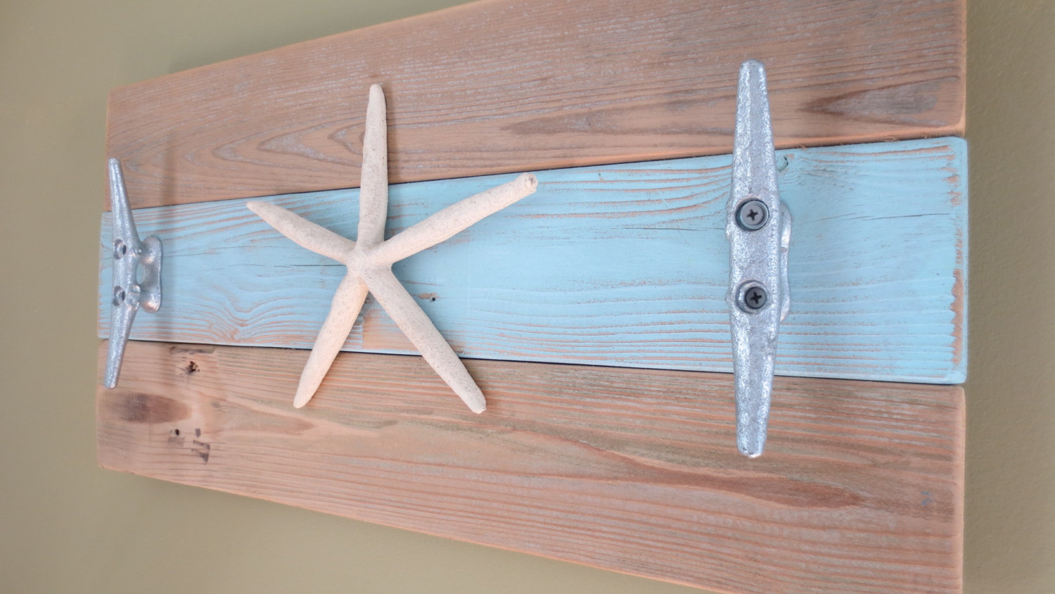 Brilliant Coat Hanger with Starfish Shaped Ornament and Coral Like Decorative Wall Hooks on Wooden Panel