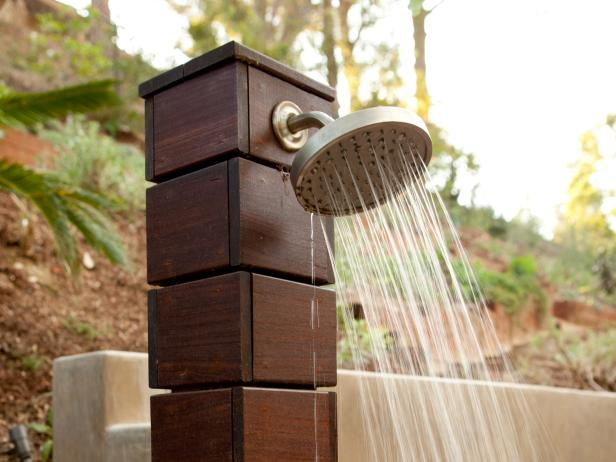 Brilliant Exterior Decor Using Outdoor Shower Enclosure With Wooden Pipe