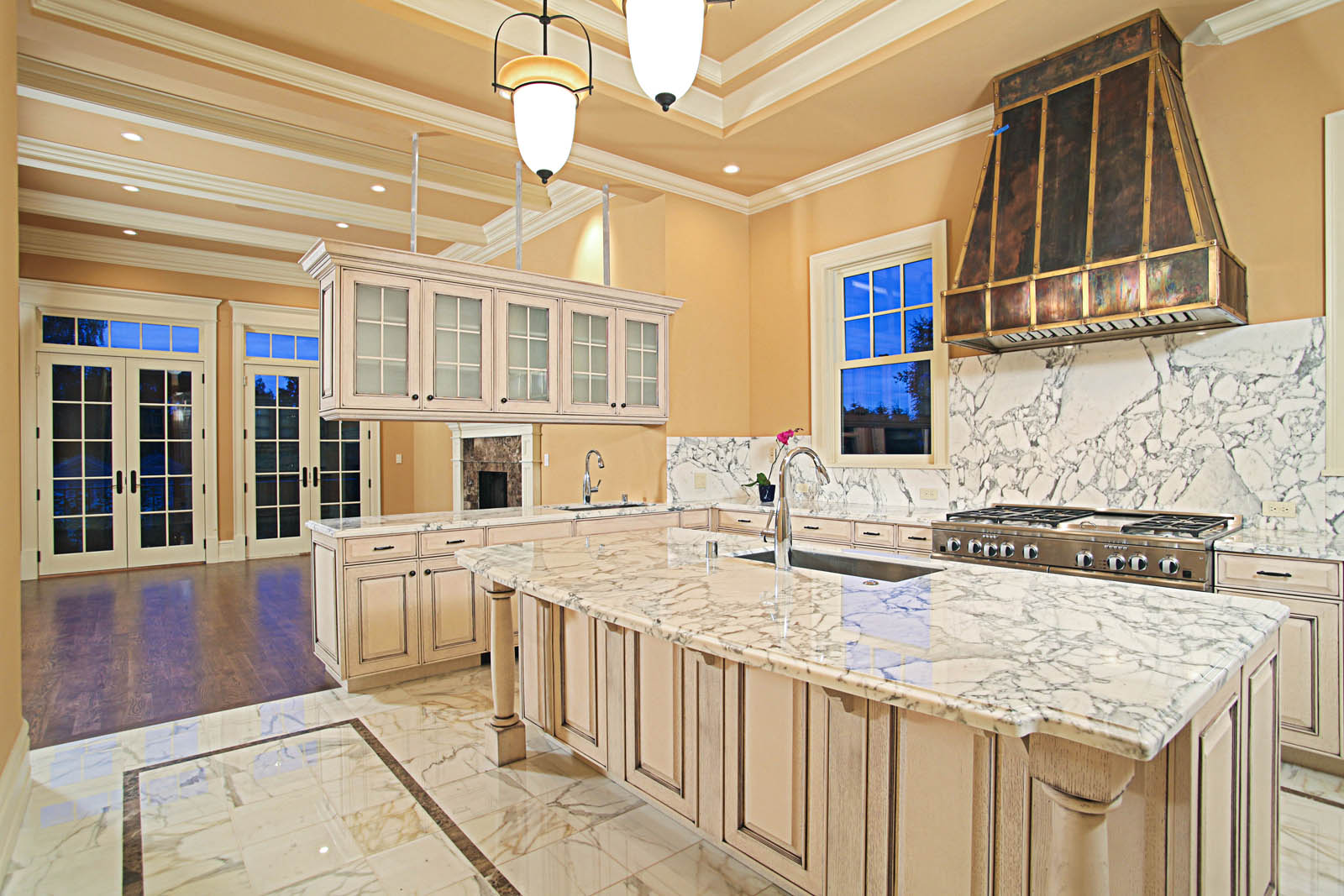 Brilliant Marble Kitchen Floor Tile Idea for Classic Kitchen with Wide Island and Long Counter near Marble Backsplash