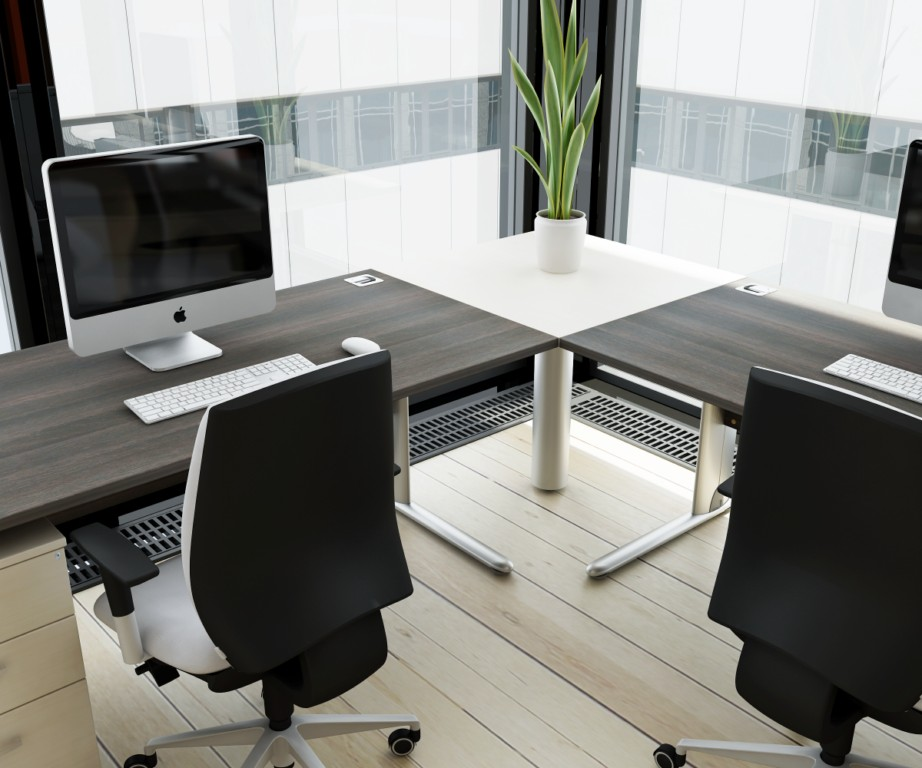 brilliant modern office desk for the office corner with white document cabinets and stylish chairs