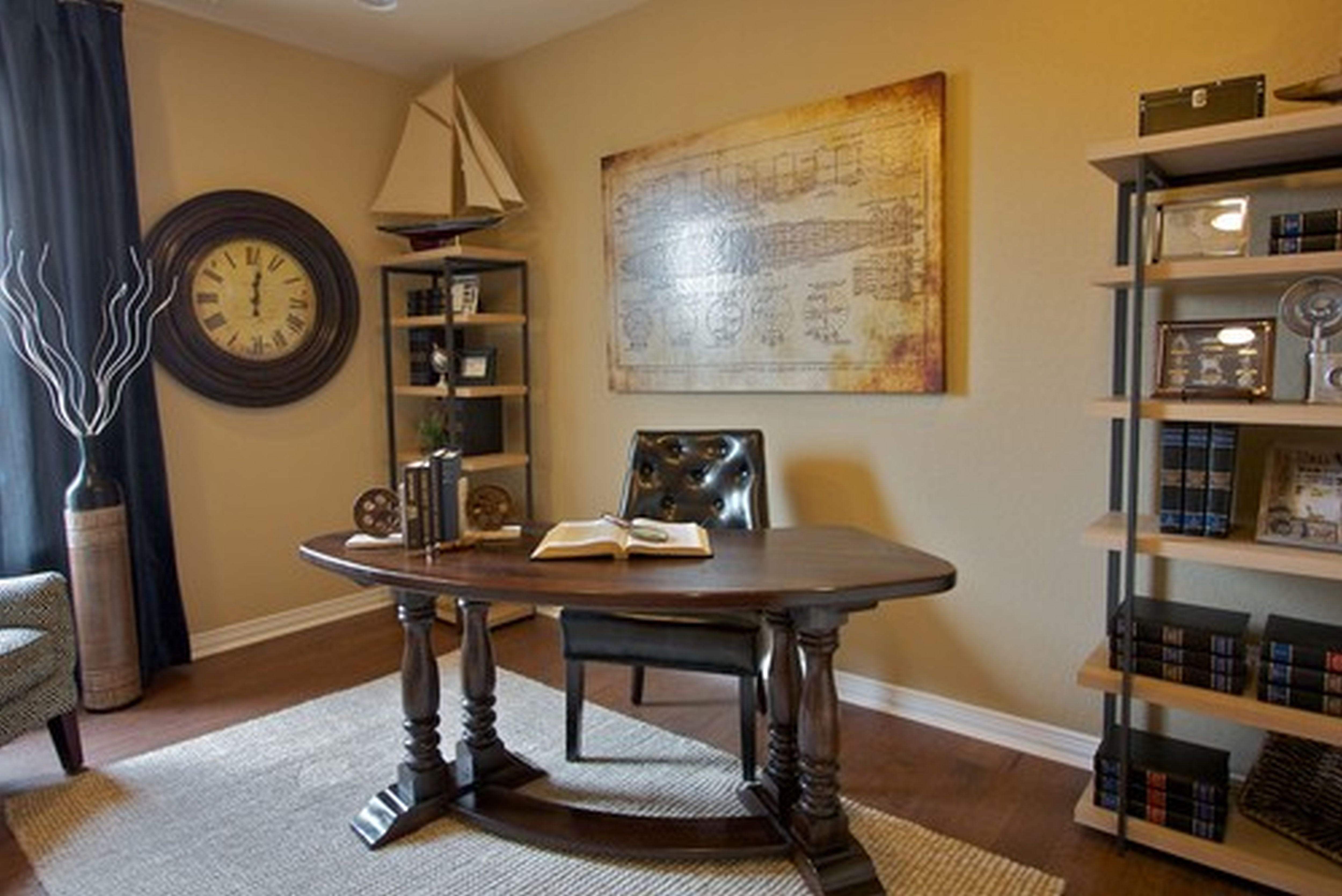 Brilliant Office Decor Ideas with Tidy Bookshelves and Curve Table on Hardwood Flooring