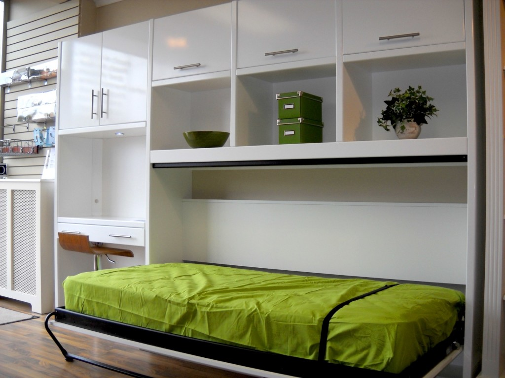 Brilliant Space Saving Beds For Small Bedroom With White Cabinets And  Shelves Above Oak Flooring