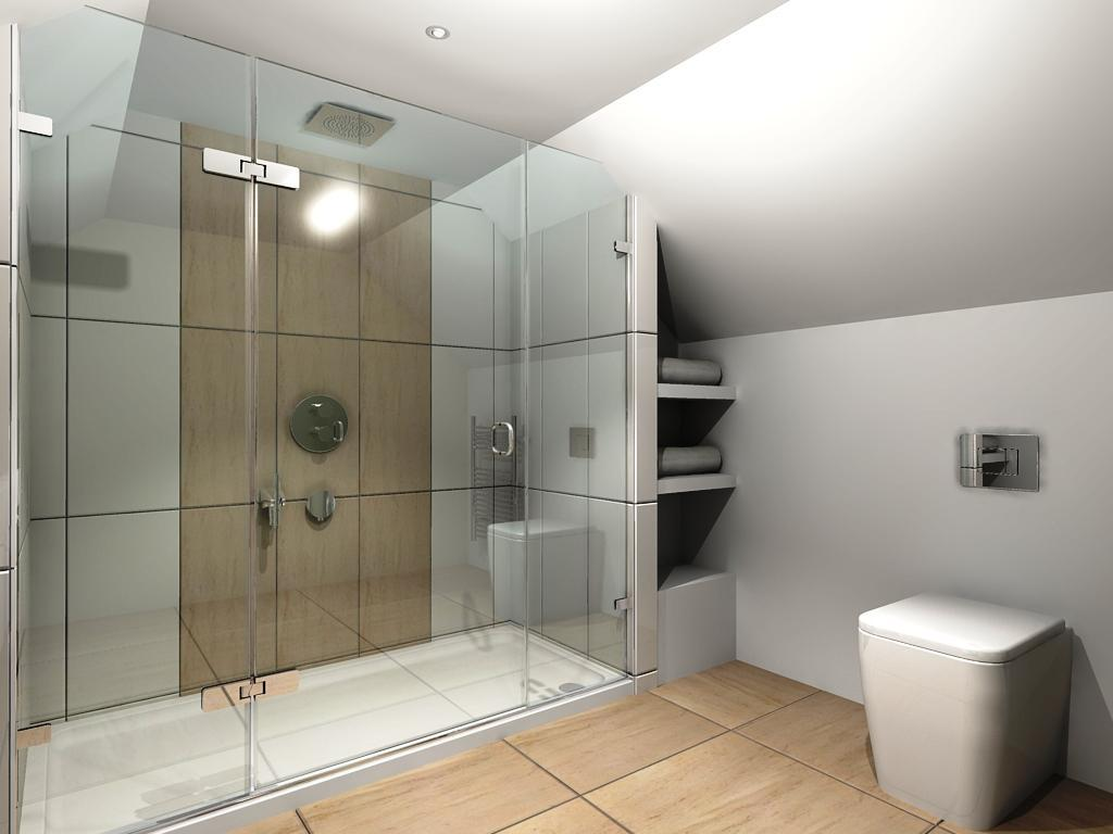 Brilliant Walk In Shower Designs with Glass Door and Tile Wall facing Wood Like Tile Flooring