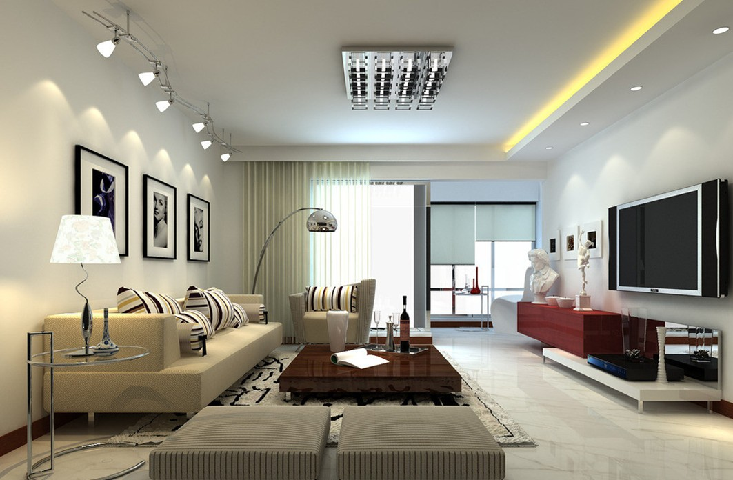 Brown Laminate Coffee Table and Grey Sofas near Glossy Arc Living Room Floor Lamps