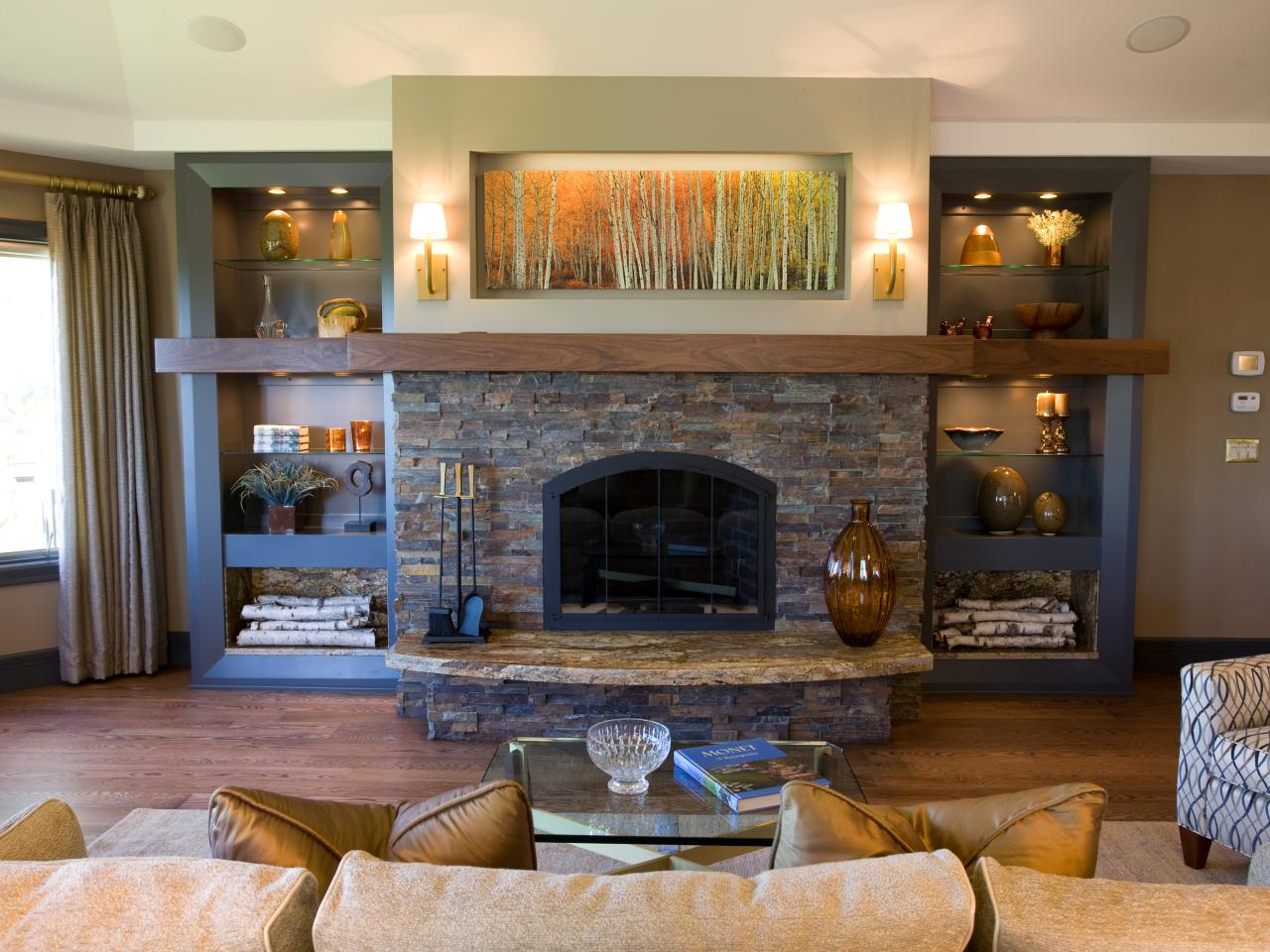 Various ideas of stacked stone fireplace based on your for Small fireplace ideas