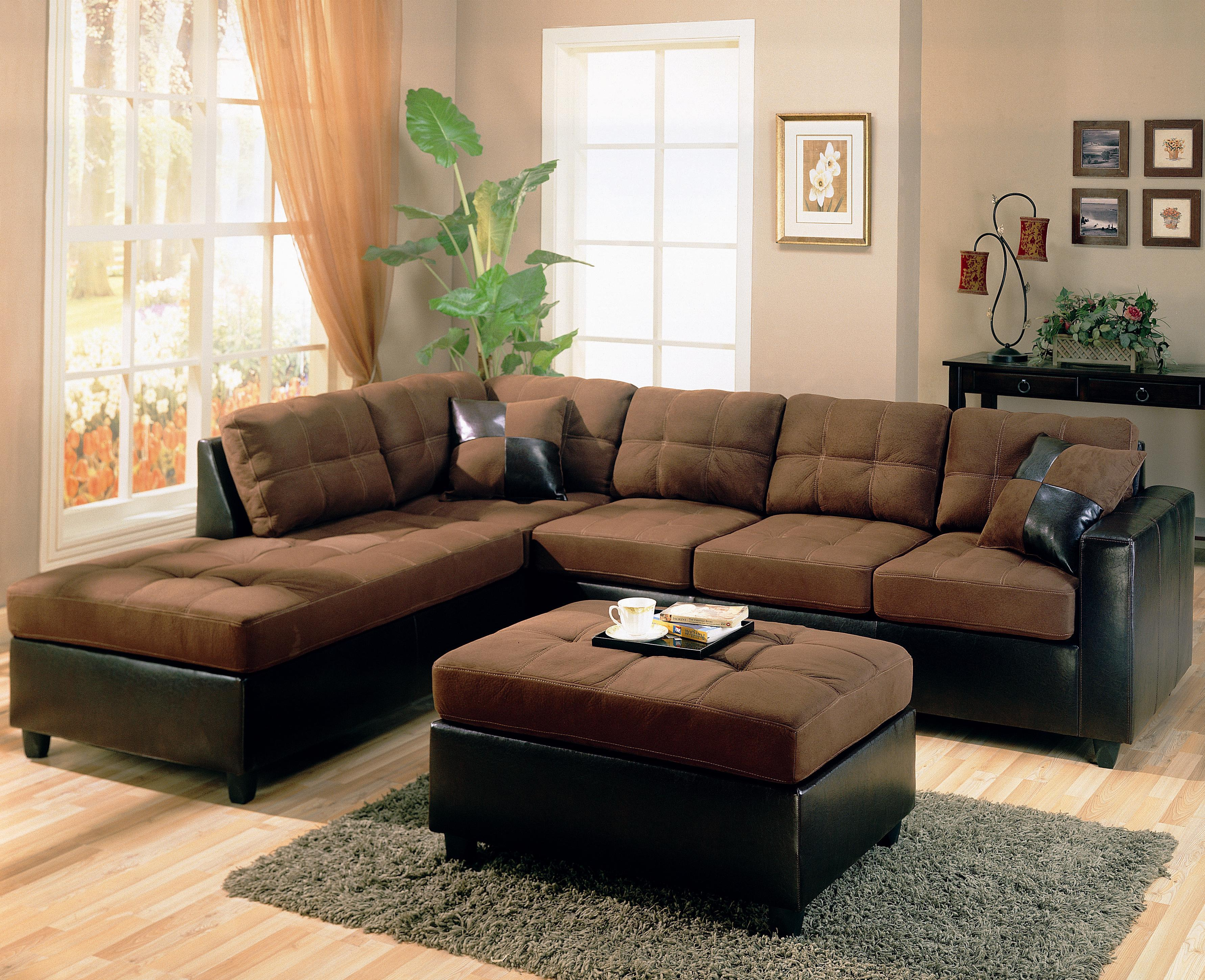 Brown Living Room Furniture Ideas with Tufted Sectional Sofa and Square Ottoman on Grey Carpet Rug