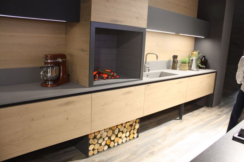 Calm Ambience from Wood Kitchen Cabinets with Long Dessign and Brown Color Accent