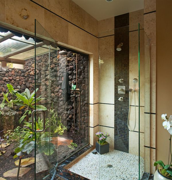 Captivating Outdoor Shower Using Visible Glass Door also Nice Floring