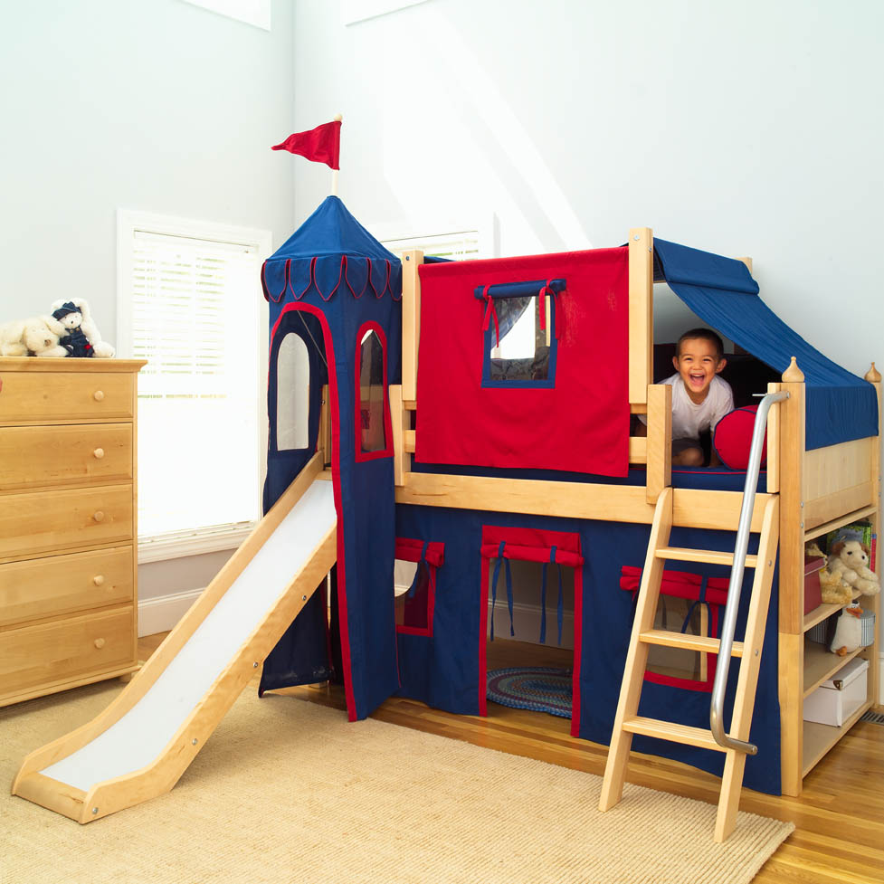 Castle Like Boys Bunk Beds using Simple Slide and Cover near Natural Oak Dresser on Laminate Flooring