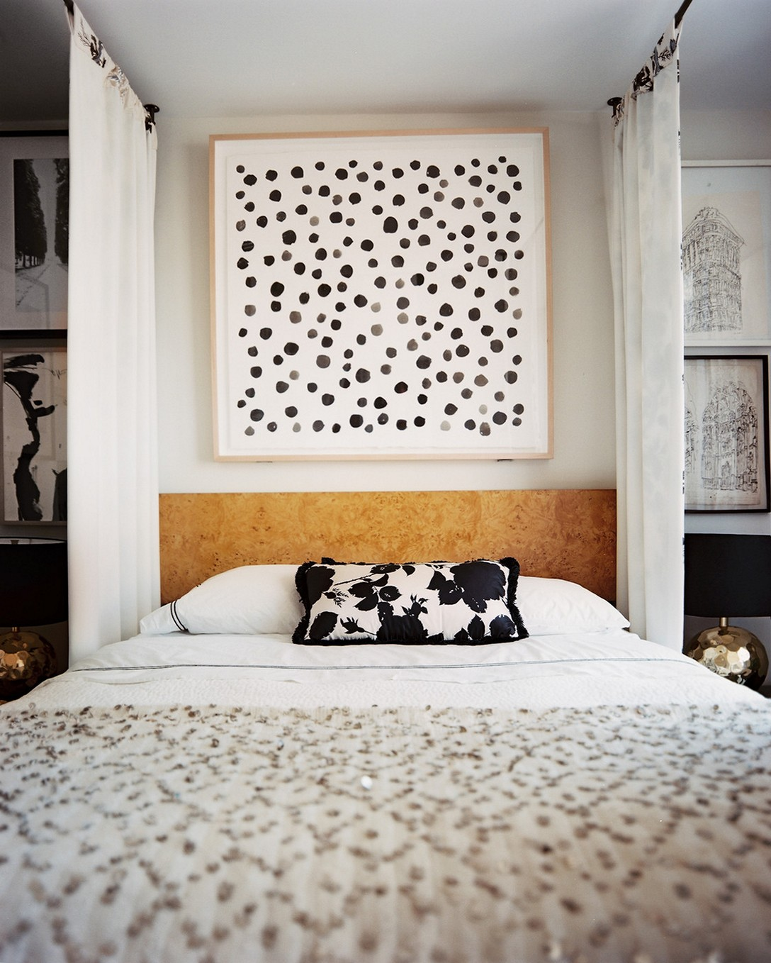 Choose Black Flowery Cushion on Cozy DIY Canopy Bed for Contemporary Bedroom with Black Shaded Table Lamps