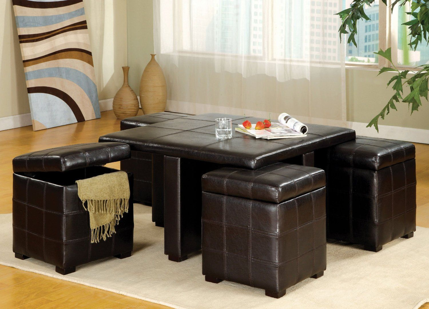 Choose Black Tufted Leather Coffee Table with Ottoman and Stools on White Carpet and Oak Flooring