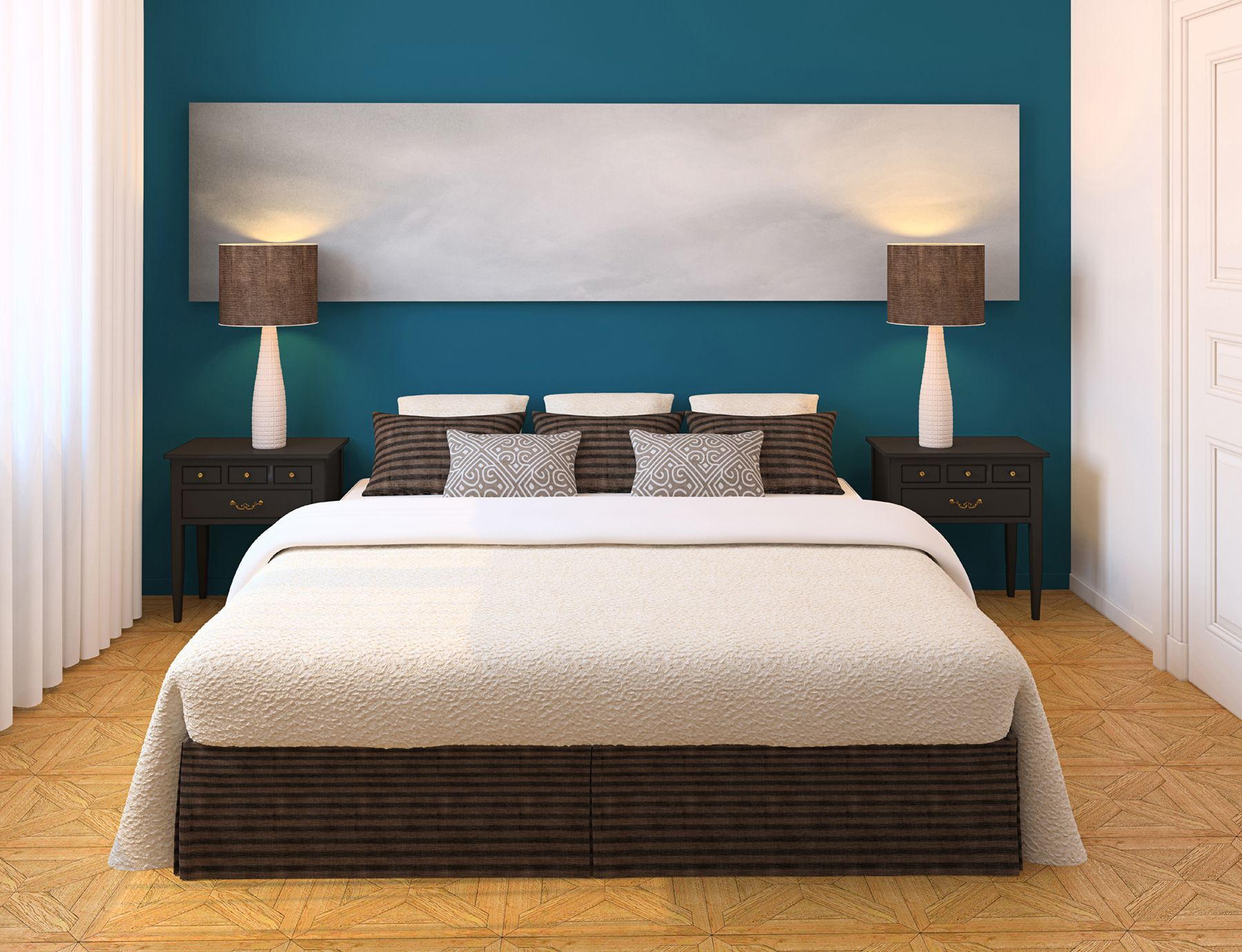 Choose Blue Bedroom Paint Ideas for Tiny Room with Wide Bed and Classic Nightstands on Cream Flooring
