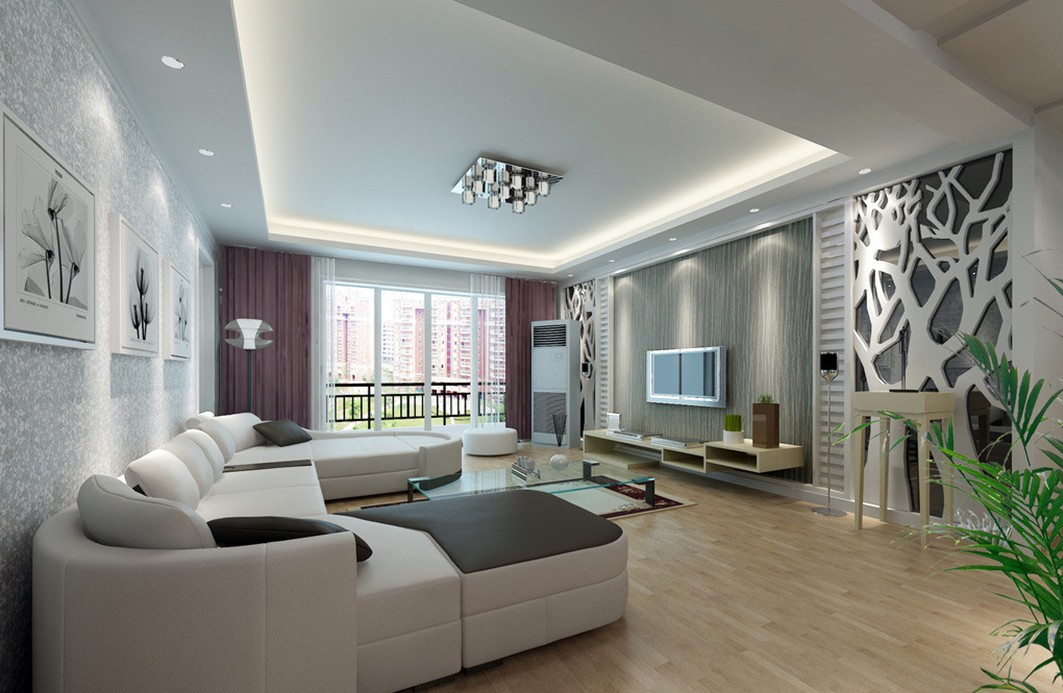 Choose Calm Living Room Wall Decor Completed with White Sectional Sofa and Glass Coffee Table