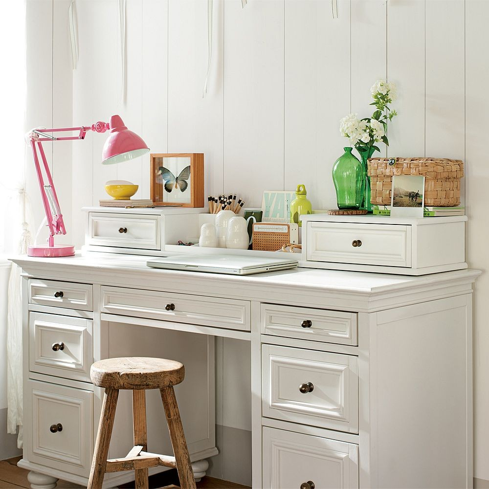 Choose Classic Small White Desk and Rustic Round Stool for Open Home Office with White Wall