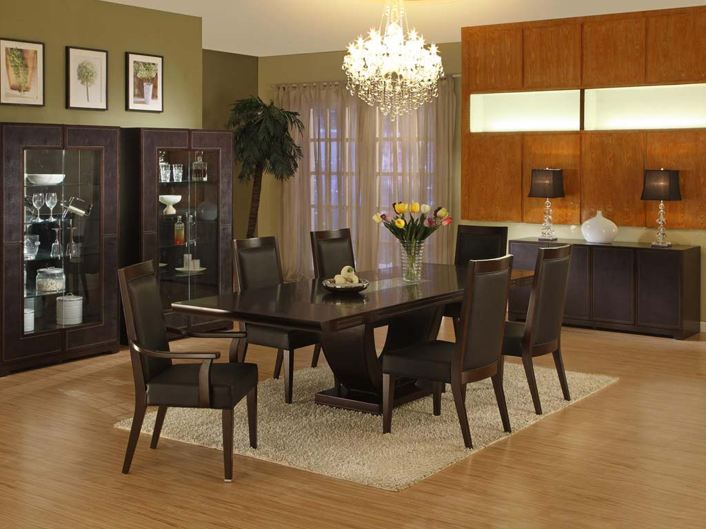 Choose Dining Room Rugs For Open Space With Black Chairs And Long Table Under Bright