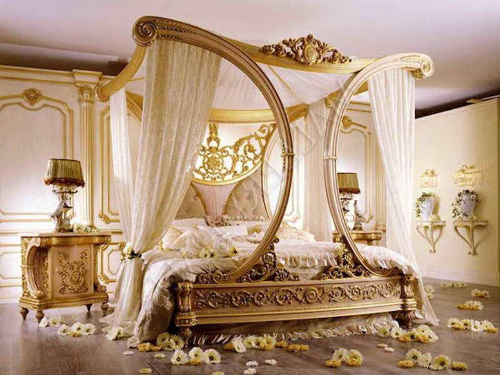Choose Elegant Canopy Bed Curtains For Gorgeous Carved Inside Wonderful Bedroom With Artistic Nightstands