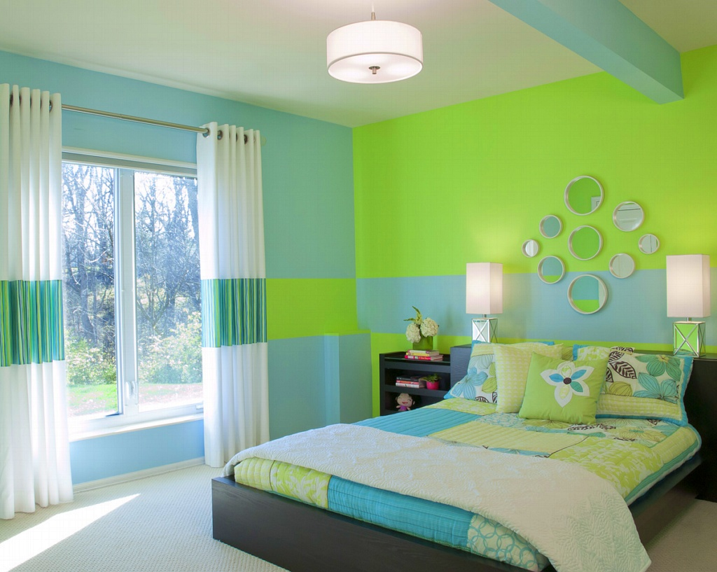 Choose Fun Bedroom Color Schemes for Stunning Room with Oak Bed and Colorful Bedding near Glass Windows