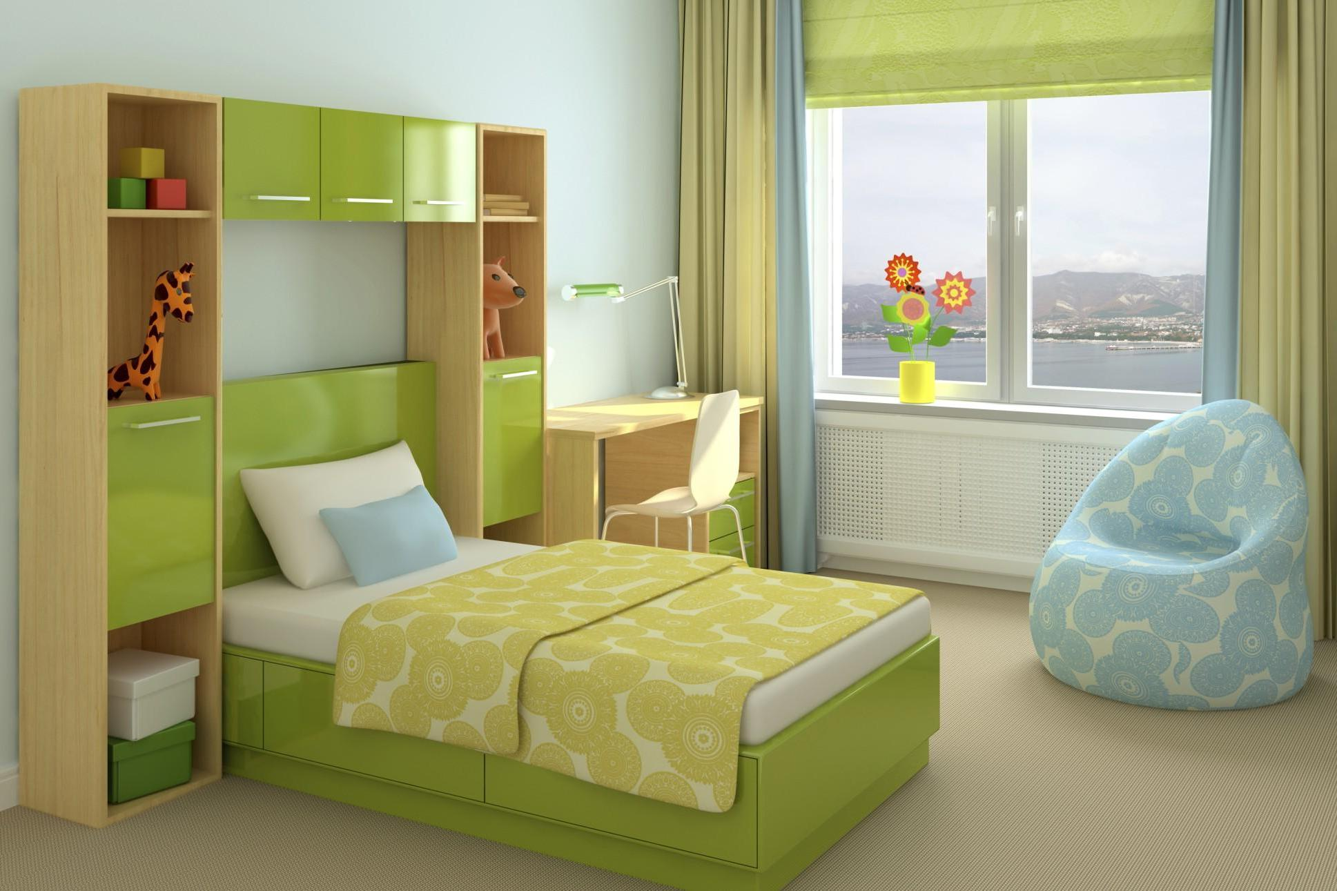 Choose Green Kids Beds with Storage and Fluffy Mattress beside Oak Desk and White Chair near Blue Bean Bag