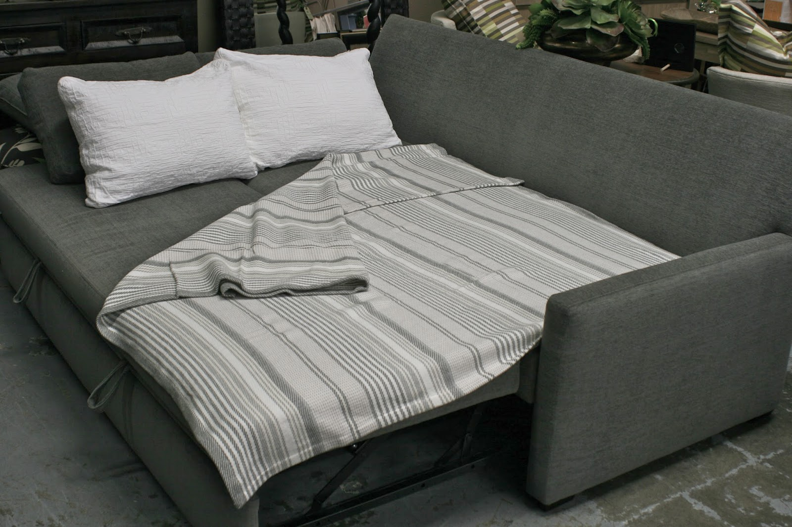 Choose Grey Sofa Bed Mattress and Duvet for Traditional Living Room with Concrete Flooring
