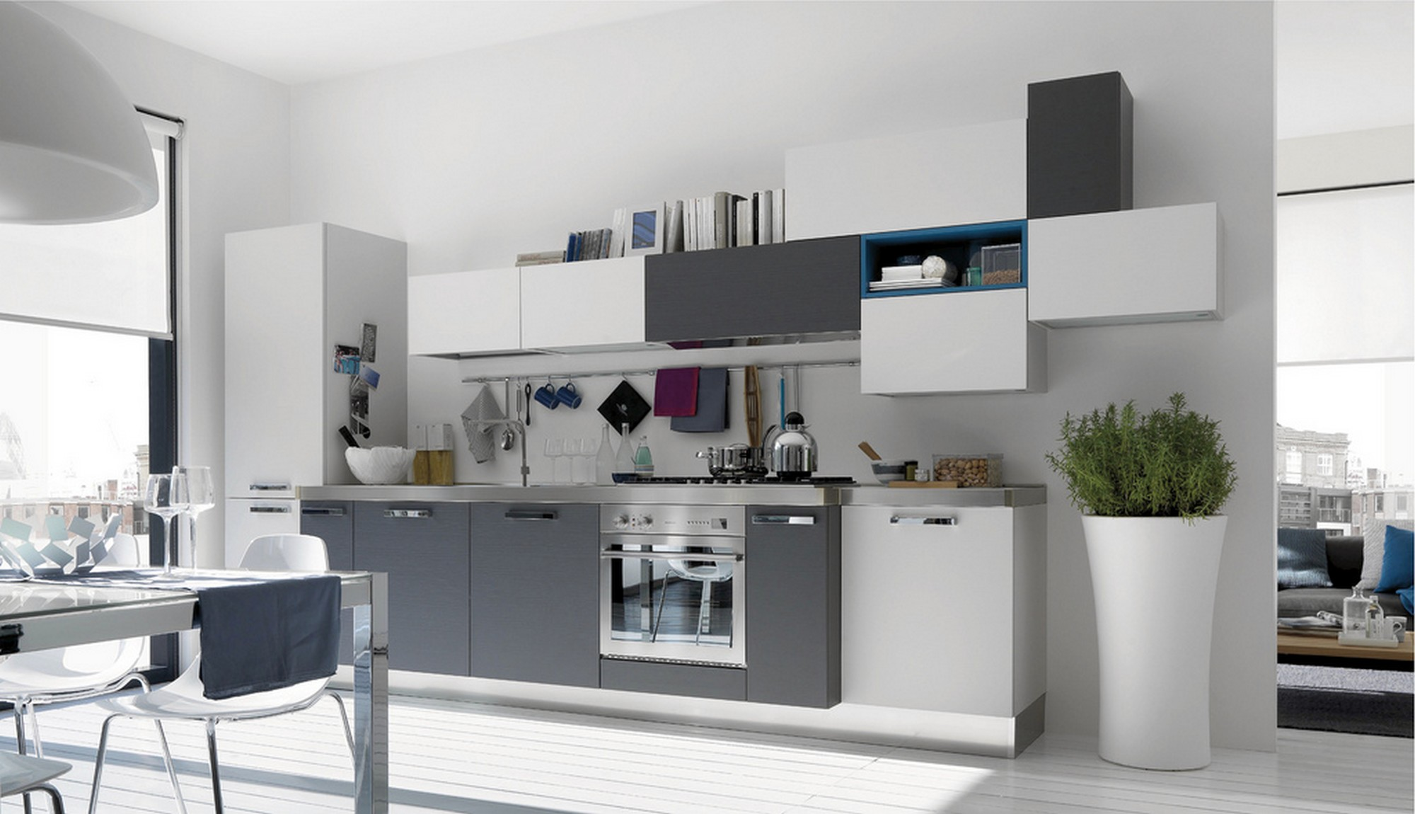 Tips for kitchen color ideas midcityeast for Grey blue white kitchen