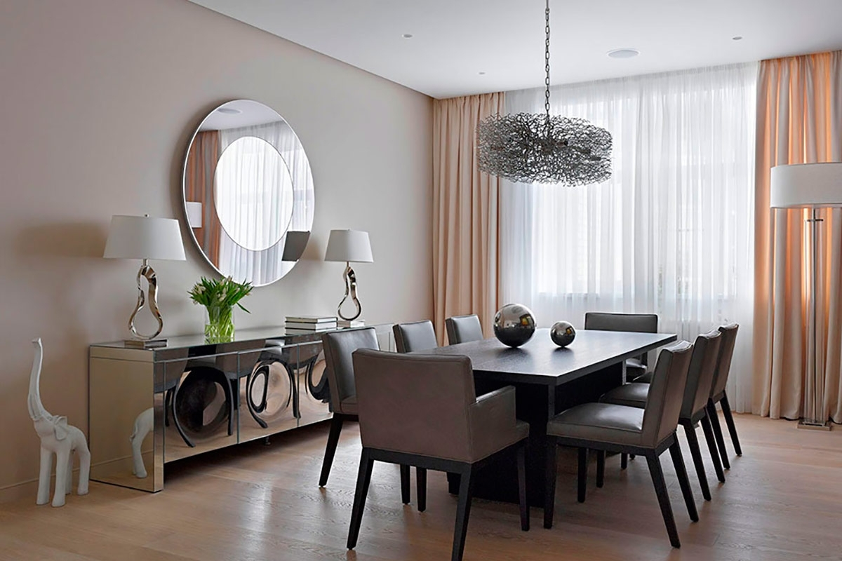 Choose Interesting Dining Room Wall Decor and Reflective Cabinets facing Grey Chairs and Long Dining Table