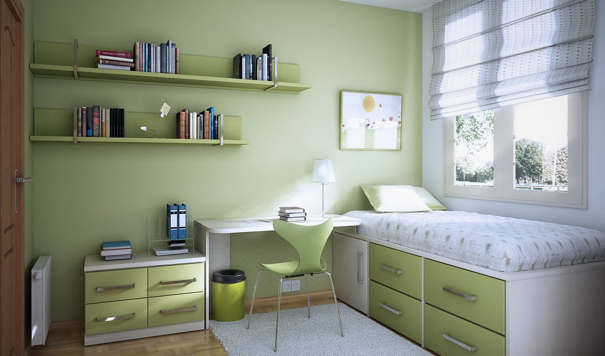 Choose Minimalist Room Design Ideas for Teen Bedroom with Single Bed and White Table under Floating Bookshelves