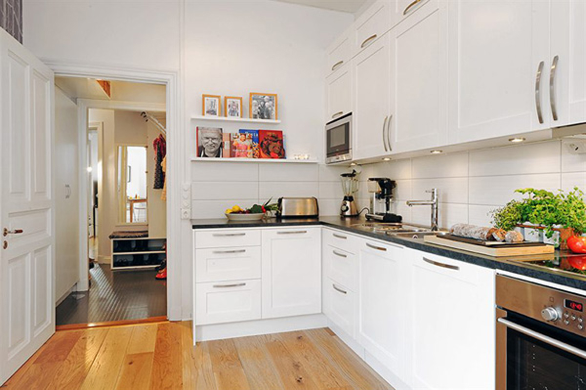 Choose Minimalit White Counter and Grey Countertop for Simple Kitchen Decor Ideas with Hardwood Flooring