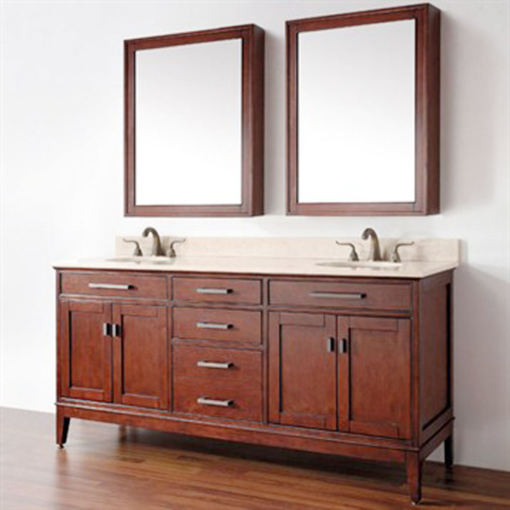 Choose Old Fashined Bathroom Vanity Ideas using Wood Material inside Spacious Room with Wood Framed Wall Mirrors