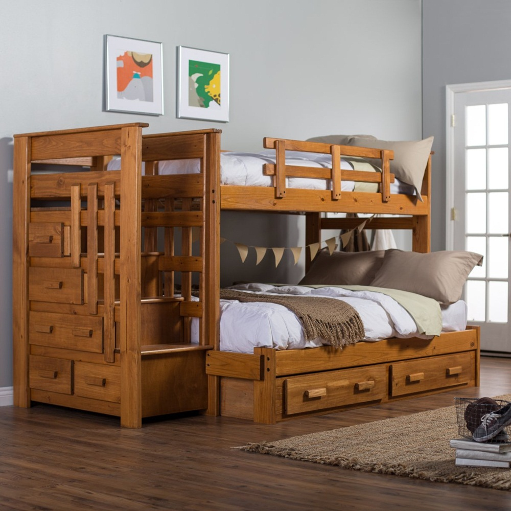 Choose Old Fashioned Oak Bunk Beds with Storage for Minimalist Bedroom with Laminate Hardwood Flooring