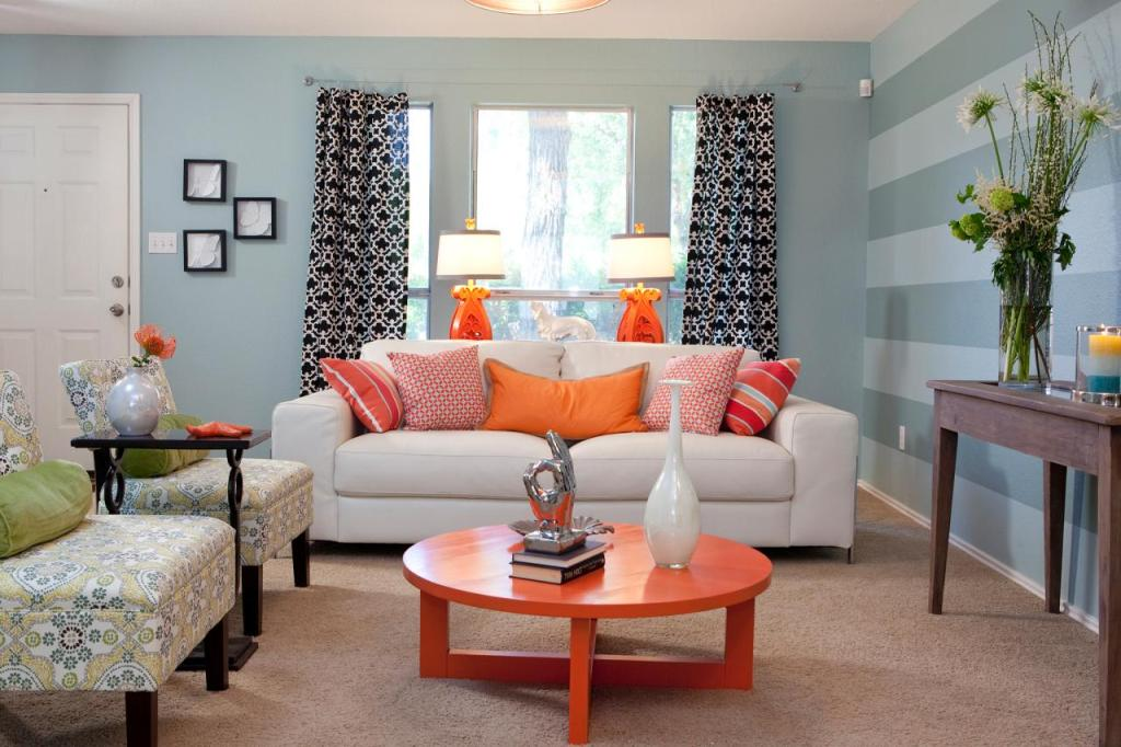 Choose Orange Coffee Table For Comfy Sitting Room With White Sofa And  Cushions Near Simple Accent Part 71