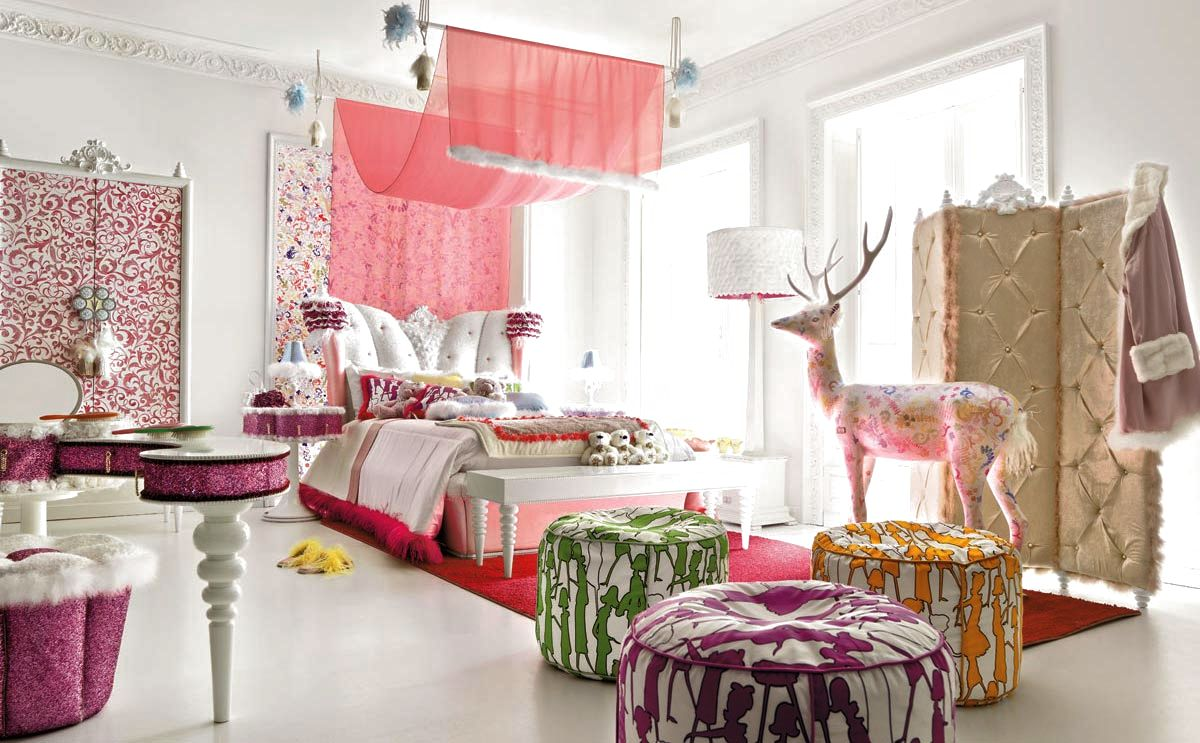 Choose Pink Canopy for Stunning Bed in Enchanting Teen Girl Room Ideas with White Bench and Round Ottomans