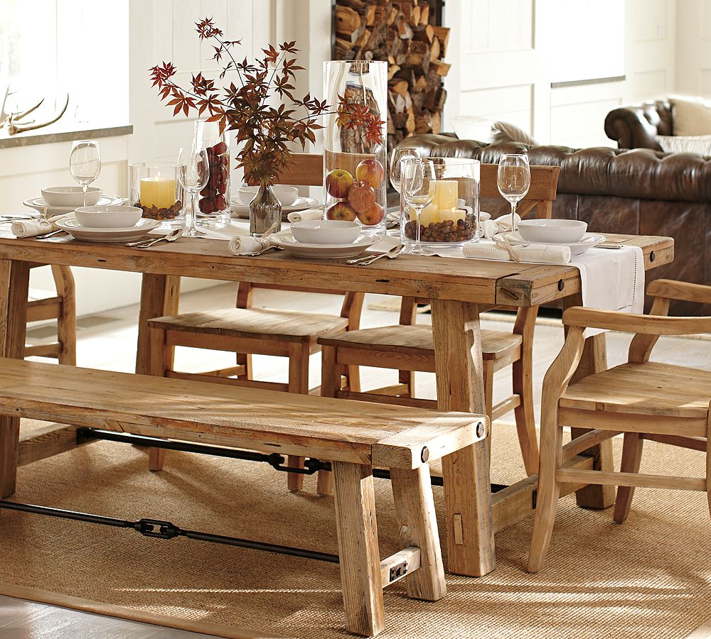 Choose Rustic Wooden Bench and Tables around Oak Dining Table Centerpieces on Brown Carpet