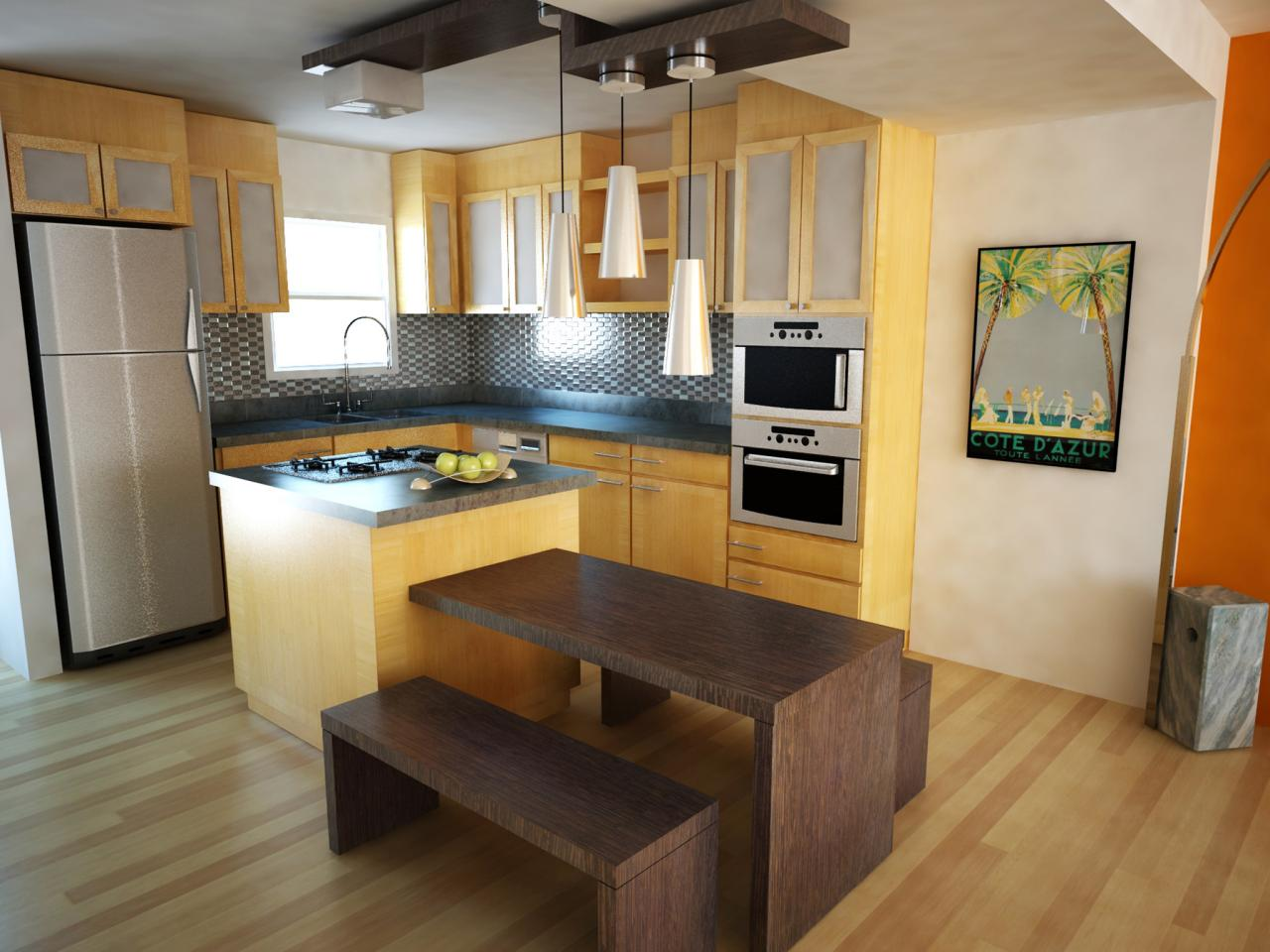 Choose Small Kitchen Island and Additional Oak Table near Benches for Open Kitchen Area