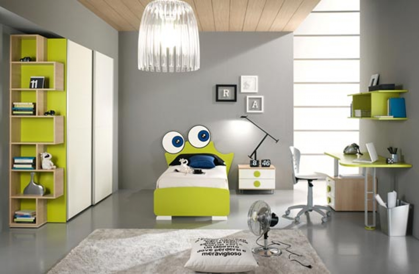 Choose Unique Green Bed and White Nightstand for Modern Kids Room Decor with Stylish Study Desk