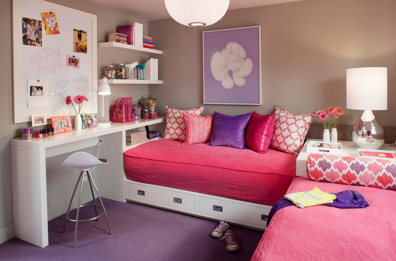 Choose White Desk and Stools for Lovely Girls Bedroom Decor with Pink Storage Beds on Purple Flooring