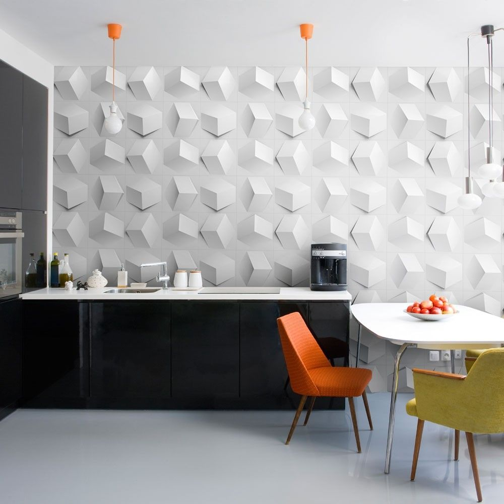 Genial Choose White Dining Table And Colorful Chairs Near Black Kitchen Counter  And White Decorative Wall Panels