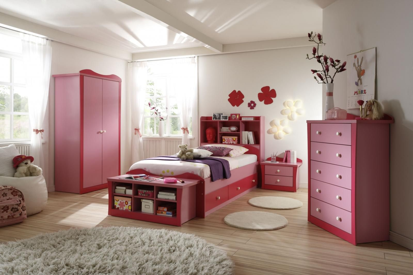 Choose White Flower Shaped Wall Lamps to Decorate Enchanting Girls Room Ideas with Pink Dressers