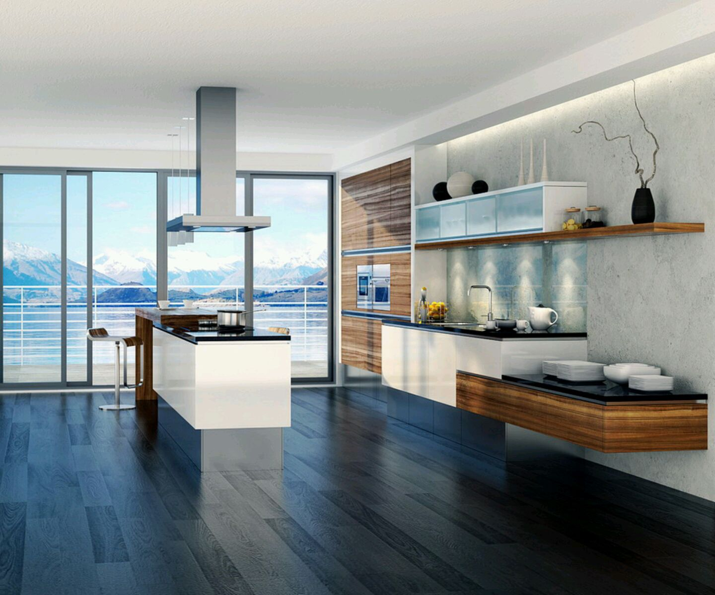 Choose White Island And Wooden Additional Table For Modern Open Kitchen  Design With Floating Shelves
