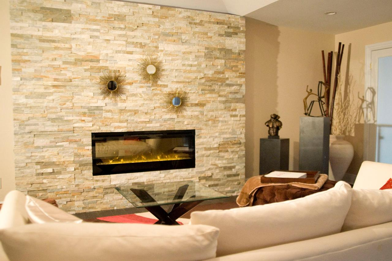 Choose White Sofa And Glass Top Coffee Table Facing Appealing Stacked Stone Fireplace