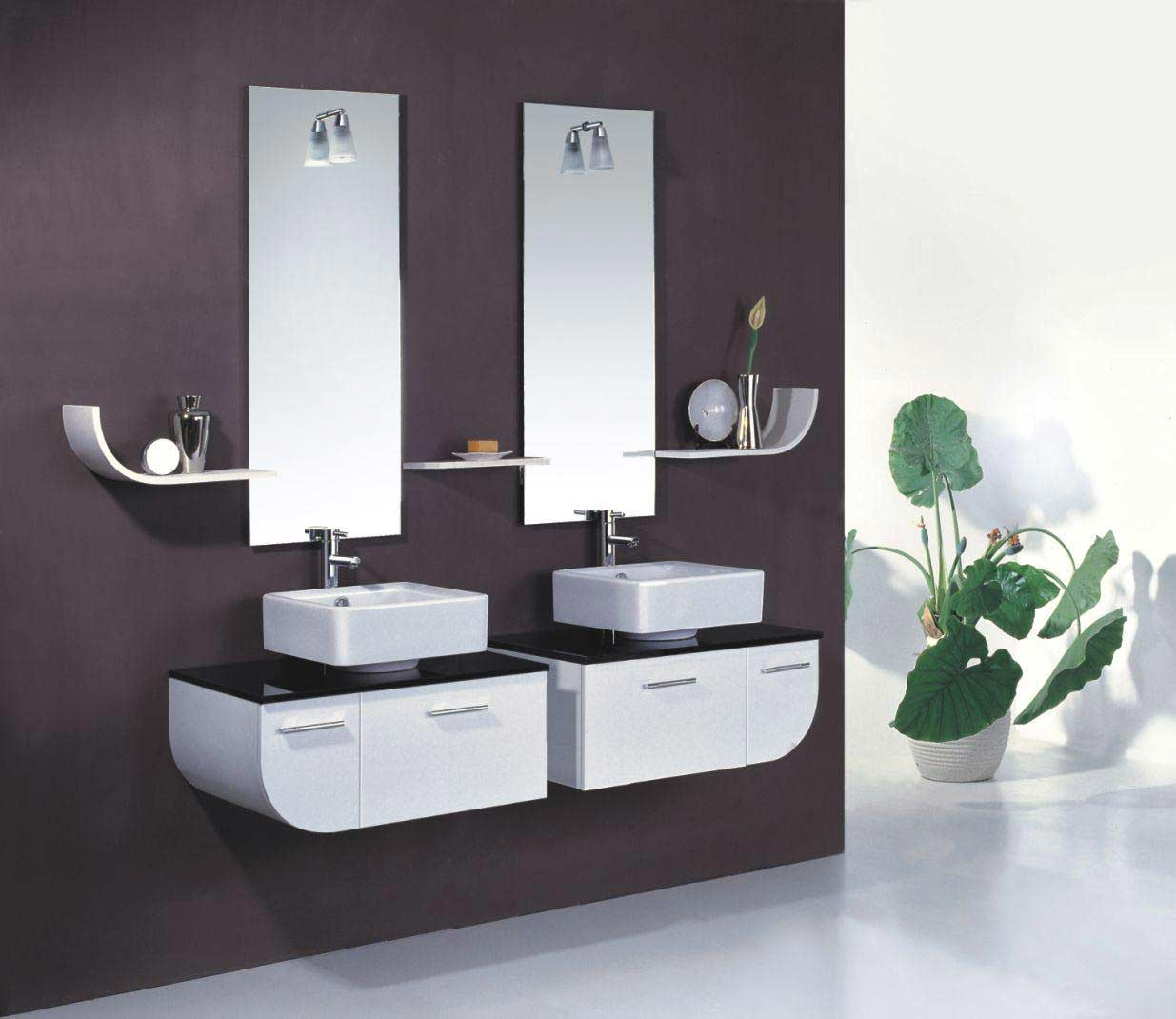Choose White Vanities and Sinks under Frameless Bathroom Vanity Mirrors on Dark Painted Wall
