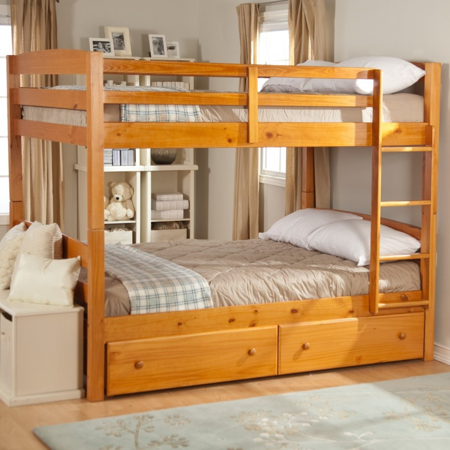 Choose Wooden Bunk Beds for Simple Kids Bedroom with White Bench and Tidy Shelves on Oak Flooring