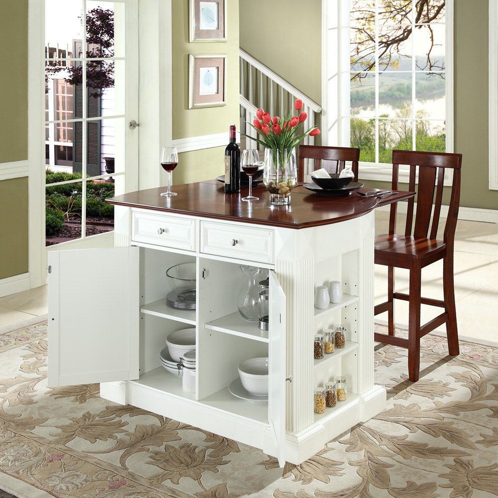 Choose Wooden Stools and White Movable Kitchen Island on Artistic Carpet near Green Painted Wall