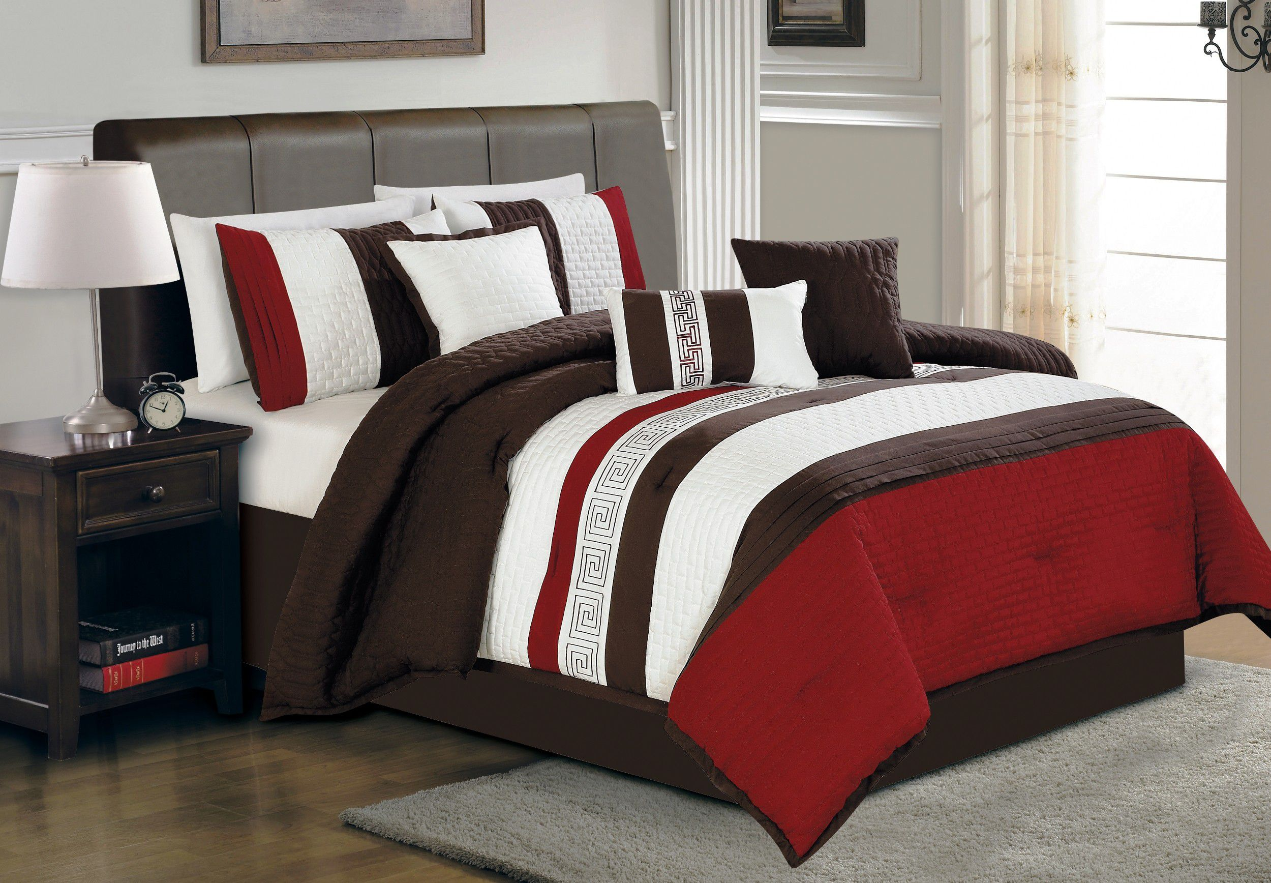 Choose this Teen Boy Bedding for Brown Leather Bed in Traditional Bedroom with Oak Nightstand