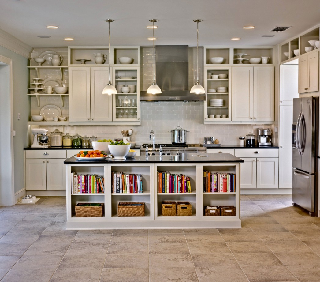 Classic White Kitchen Island Plans Completing Wide Kitchen with Long Counter and Floating Cabinets on Tile Backsplash