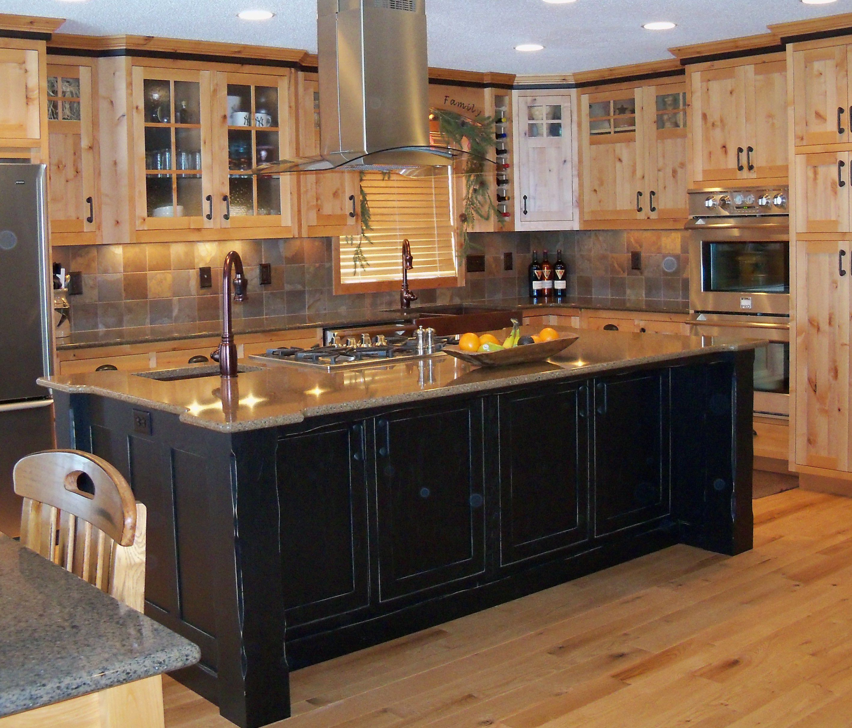 Classy Furniture of Black Kitchen Island Using Wooden Cabinet and Faucet