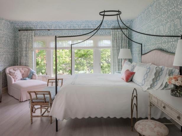 Classy Interior Bedroom Using Princess Canopy Bed also Arm Chair Near Window