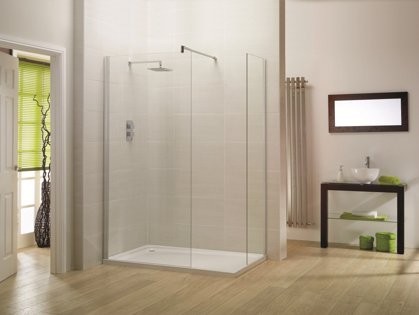 Clean Glass Panels and Modern Shower Faucet Used in Interesting Walk In Shower Designs for Wide Bathroom